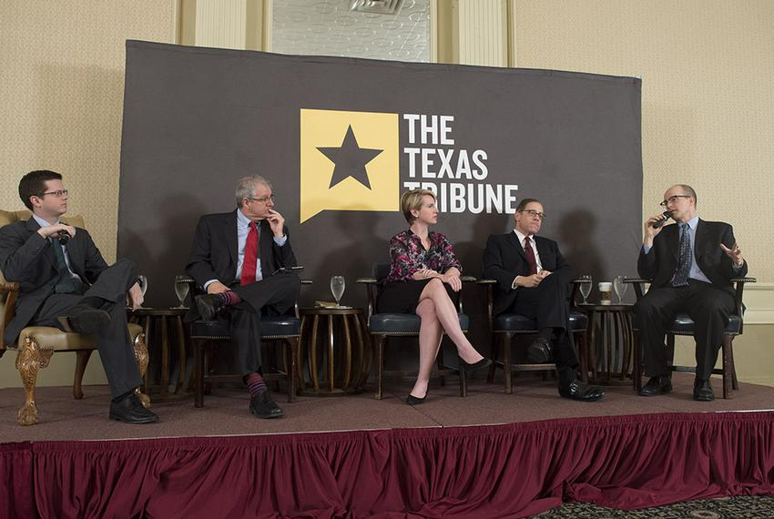 The Texas Tribune staff analyzes election results at TribCast on Nov. 5, 2014.