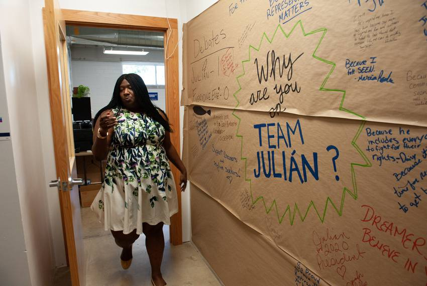Maya Rupert, campaign manager for Julián Castro, walks through the campaign's San Antonio office.
