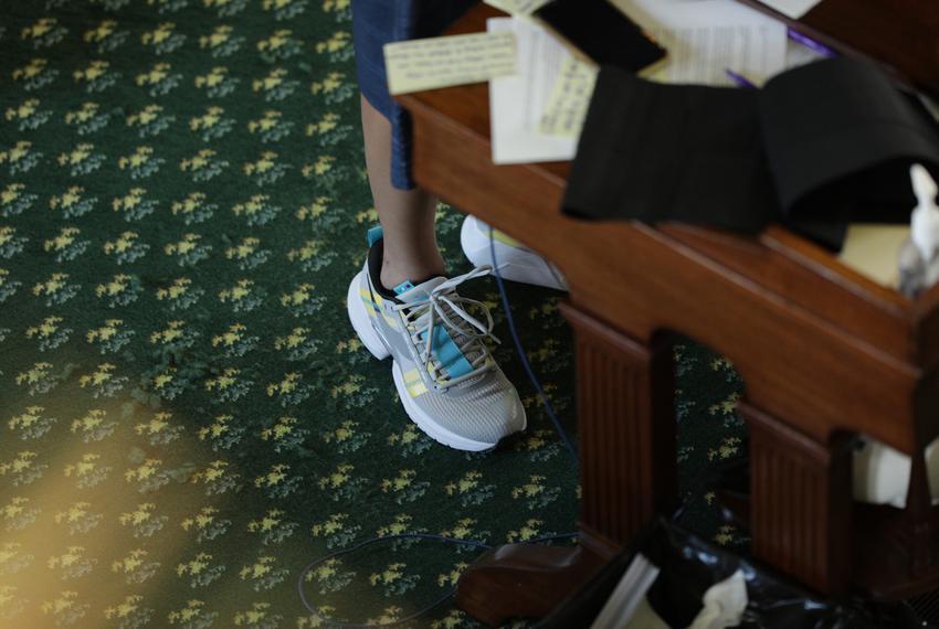 State Sen. Carol Alvarado, D-Houston, in the 14th hour of her filibuster against Senate Bill 1 on Aug. 12, 2021.