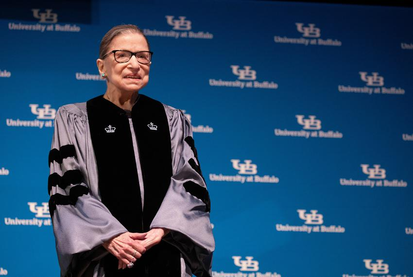 U.S. Supreme Court Justice Ruth Bader Ginsburg smiles during a reception where she was presented with an honorary doctoral d…