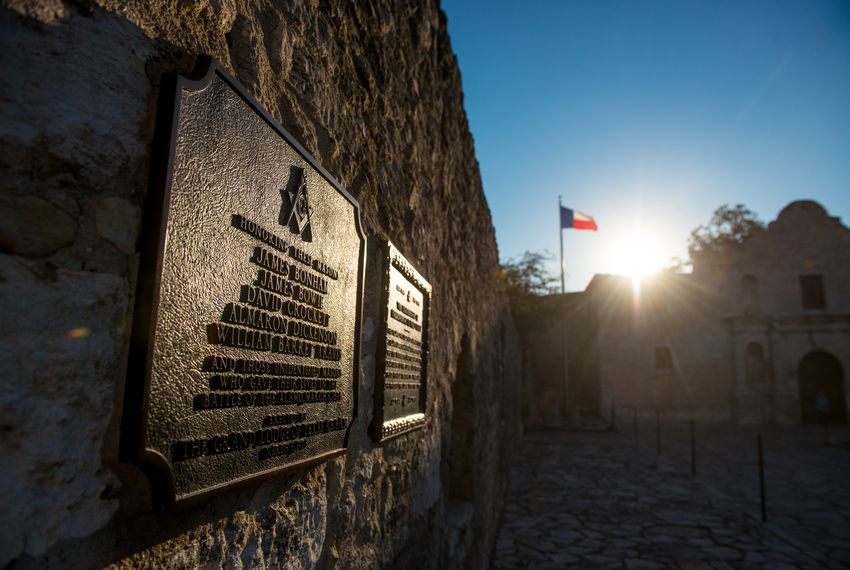 Sunrise over the historic Alamo in San Antonio, Texas.