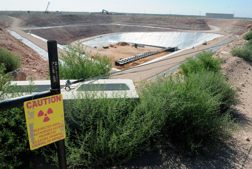 An overhead view in 2012 of Waste Control Specialists' low-level radioactive waste storage facilities near Andrews, Texas.