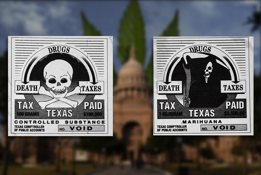 "Sample tax stamps for controlled substances and ""marihuana"" available for sale until last year from the Texas Comptroller of…"