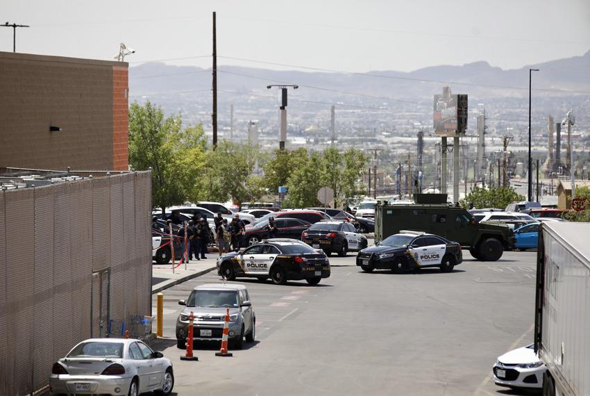 A heavy police presence near the scene of a mass shooting at a WalMart in El Paso on Saturday, August 3, 2019.