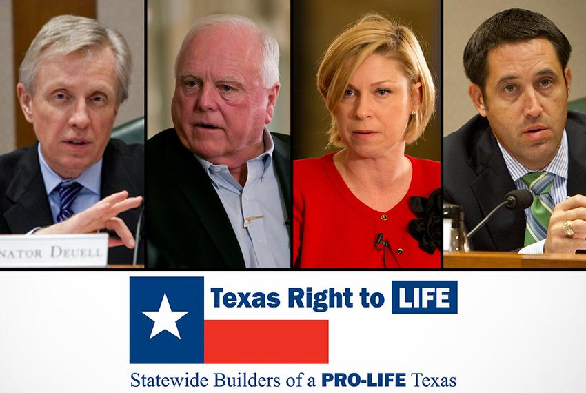 Sen. Bob Deuell, far left, and state Rep. Sarah Davis, center right, have been targeted by Texas Right to Life. Agricultur...