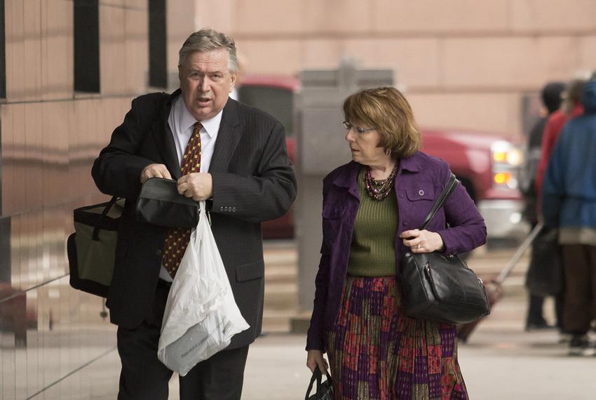 Former U.S. Rep. Steve Stockman, R-Friendswood, arrives at the United States District Courthouse in Houston on Monday, April…