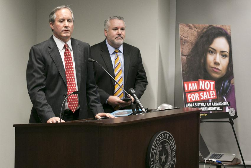 "Texas Attorney General Ken Paxton called sex trafficking ""one of the most heinous crimes facing our society"" at a recent pre…"