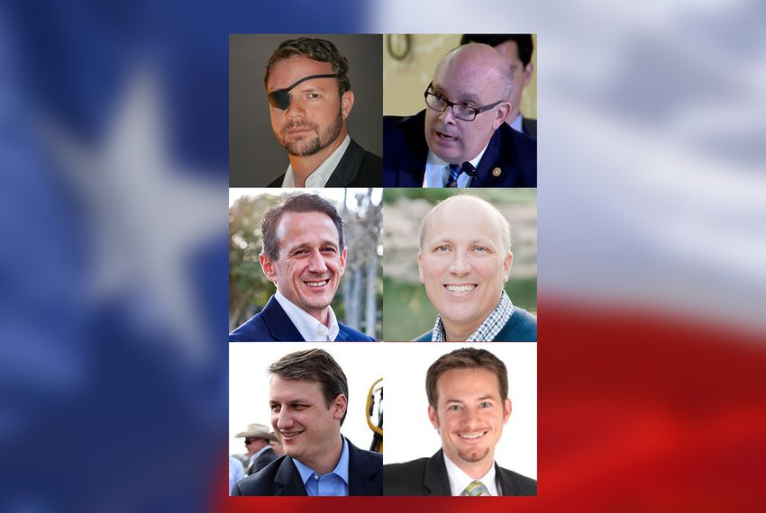 Left to right, Republican congressional runoff opponents (top row): Dan Crenshaw and state Rep. Kevin Roberts, R-Houston, vying for CD-2; (middle row) Matt McCall and Chip Roy, facing off in CD-21; and (bottom row) Bech Bruun and Michael Cloud, competing in CD-27.