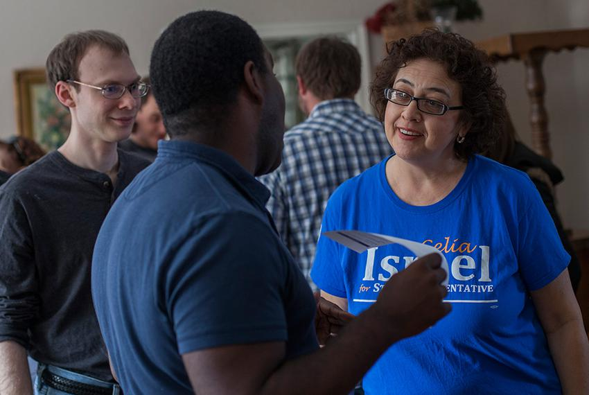 Democrat Celia Israel, a candidate for Texas House District 50 in Austin, speaks to supporters at a Battleground Texas ral...