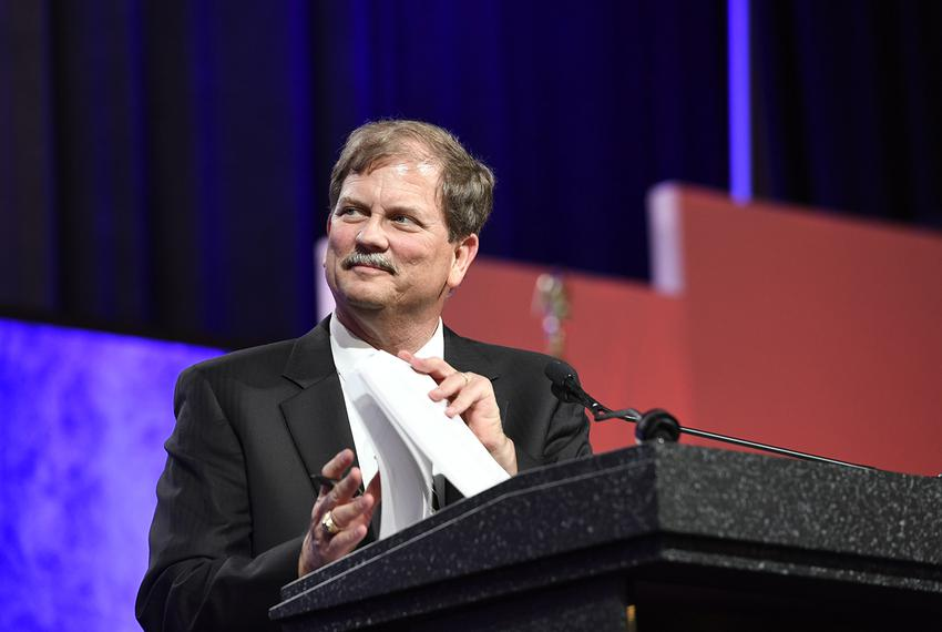 Texas GOP Chairman Tom Mechler speaks at theState Republican Convention in Dallas on May 13, 2016.