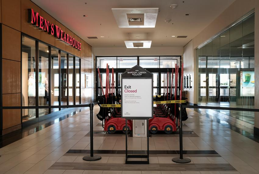 Children's buggies and other common use feature of the mall were closed in order to minimize people's exposure to the corona…
