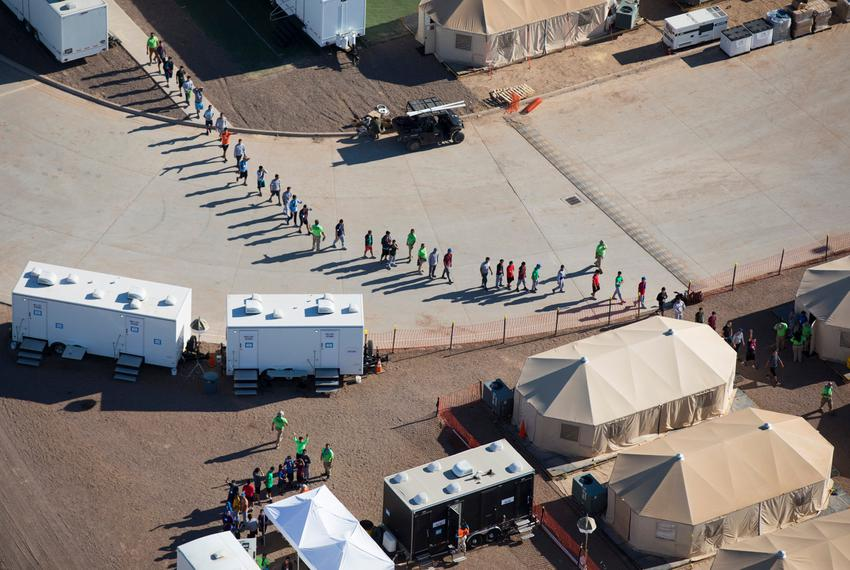 Aerial view of the tent city at the Marcelino Serna Port of Entry in Tornillo on Wednesday, Sept. 12, 2018. The shelter open…