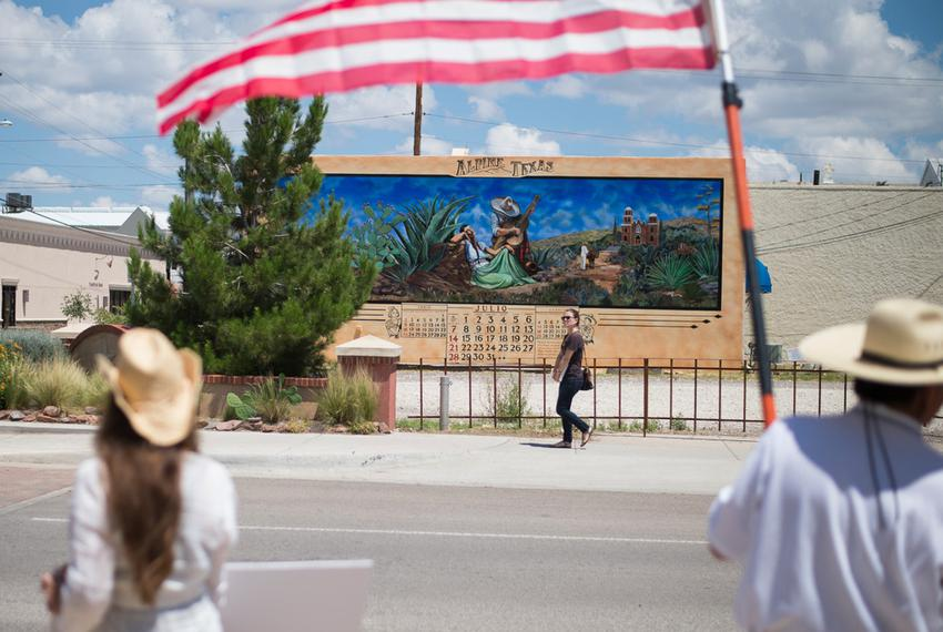 A view of Alpine residents protesting the pipeline on June 19, 2015.