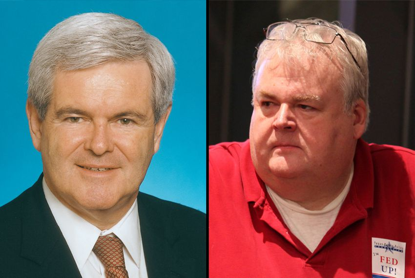 Left: Republican presidential candidate Newt Gingrich. Right: G.O.P. strategist Dave Carney.