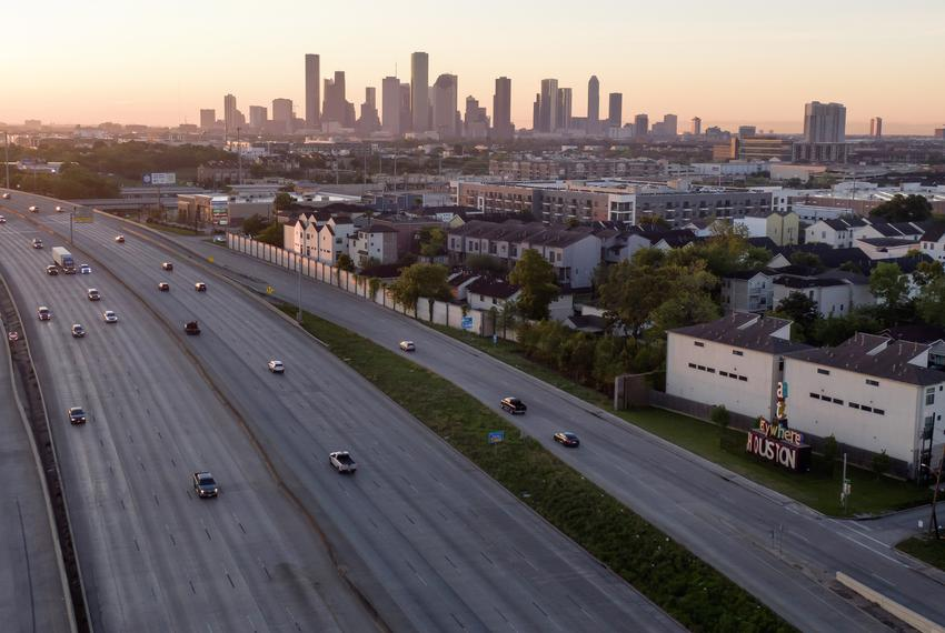 An almost empty freeway in Houston on April 1, 2020.