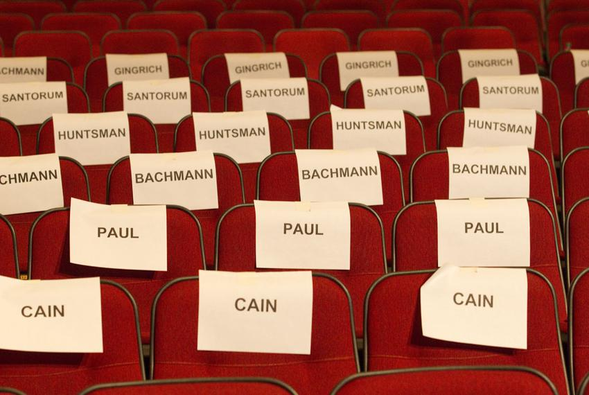 The auditorium seats saved for Republican VIP's at Dartmouth College, site of the fourth Republican candidate debate on Octo…