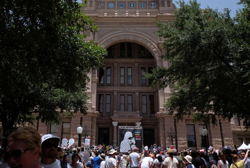 Thousands of demonstrators gathered at the Texas State Capitol for the Families Belong Together Rally on Saturday, June 30, …