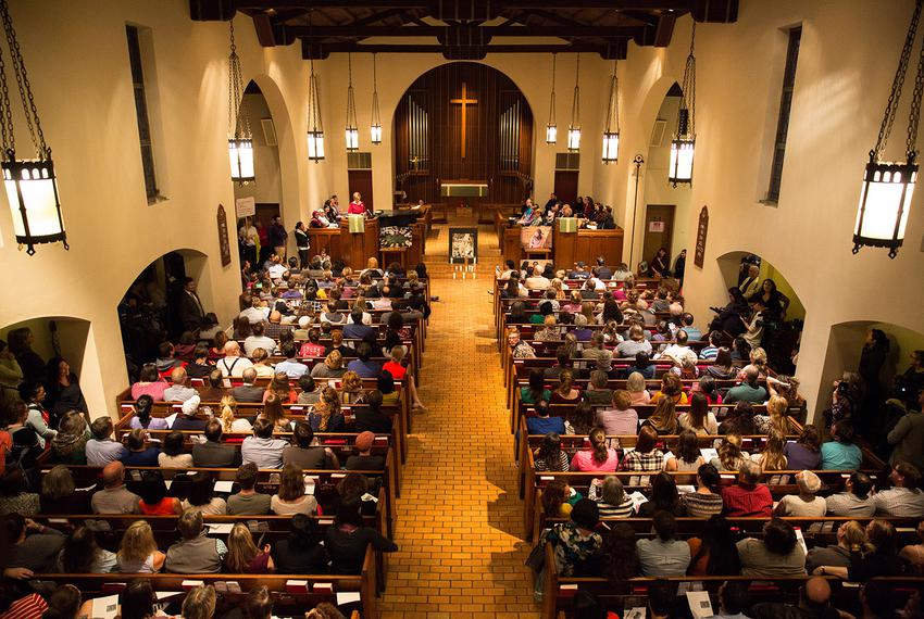 In reaction to the travel ban implemented by President Trump over the weekend, the First English Lutheran church in Austin...