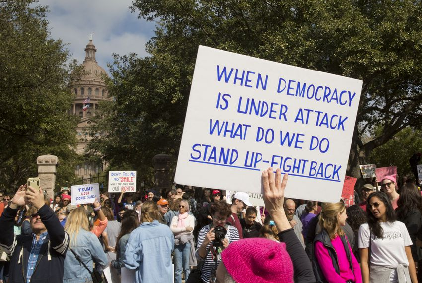 Thousands gathered to participate in the Women's March in Austin, which began at City Hall and ended at the Texas Capitol on Saturday, Jan. 20, 2018.