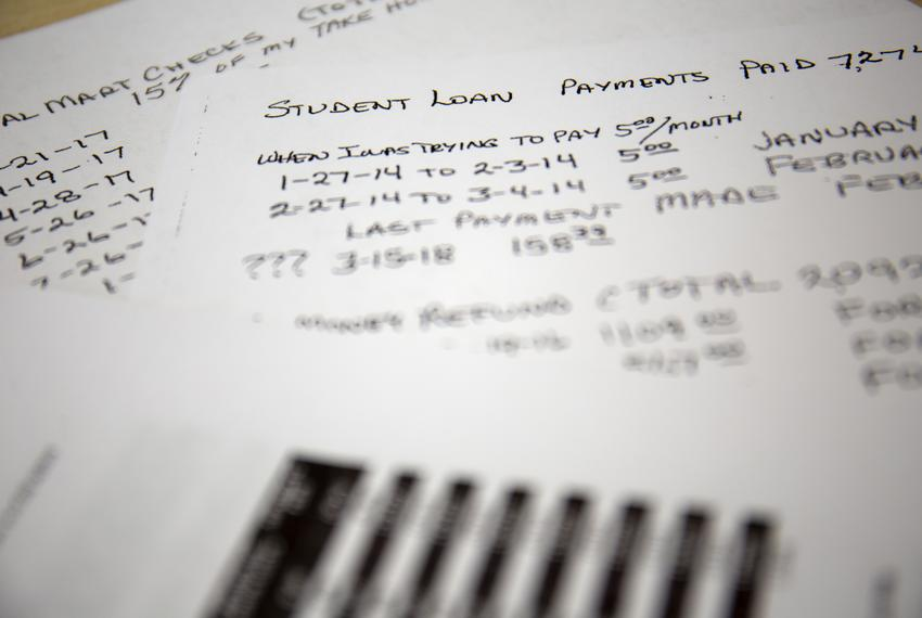 Lynda Costley kept a record of her student loan payments since January of 2014.