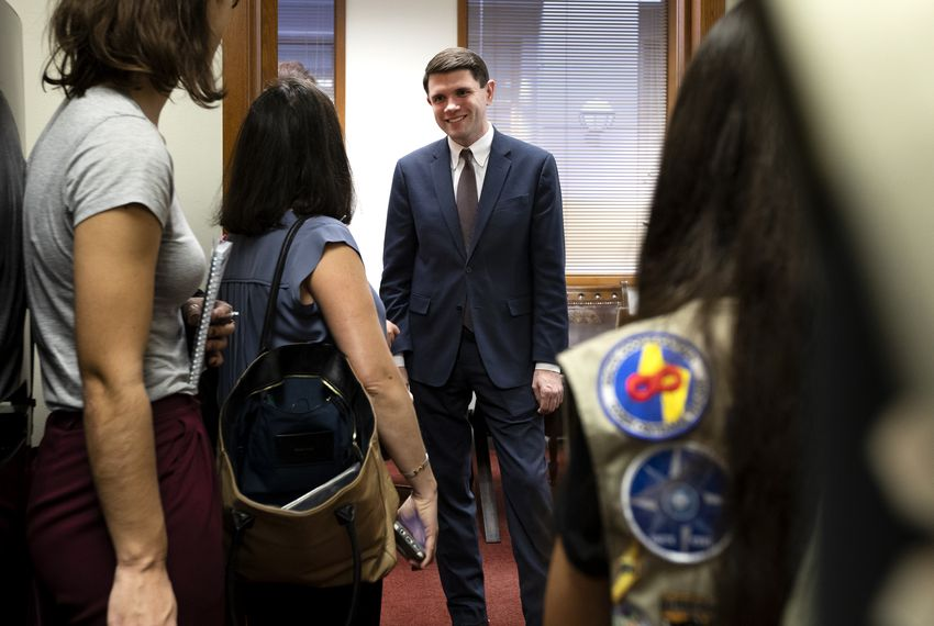 State Rep. James Talarico, D-Round Rock, greets guests at his office in the state capitol Tuesday.