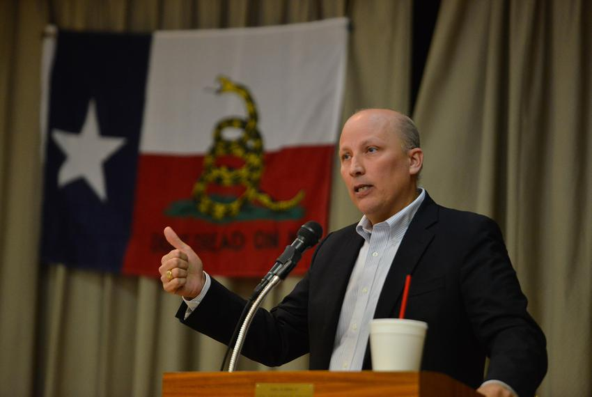 U.S. Congressional District 21 Republican candidate Chip Roy speaks during a candidate forum sponsored by the Hill Country T…