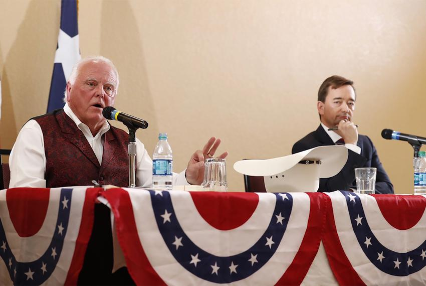 Texas Agriculture Commissioner Sid Miller (left), and Republican primary challenger Trey Blocker at a debate in Tyler on Feb…