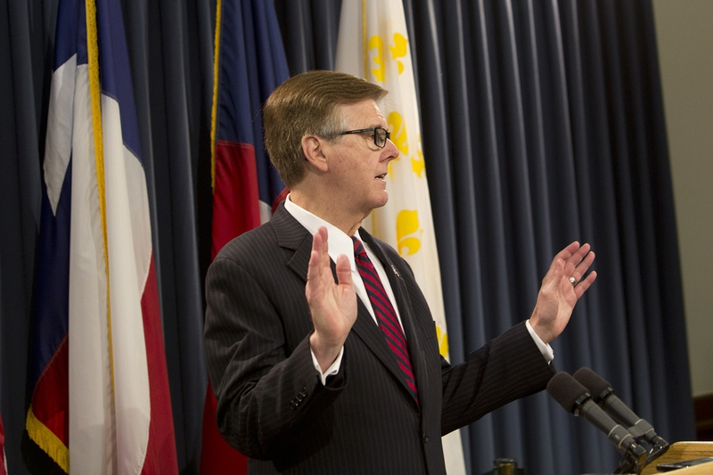 """At a May 17, 2017, news conference, Lt. Gov. Dan Patrick told reporters that the House had to pass two items — property tax reform and the """"bathroom bill"""" — or he'd look to force a special session."""