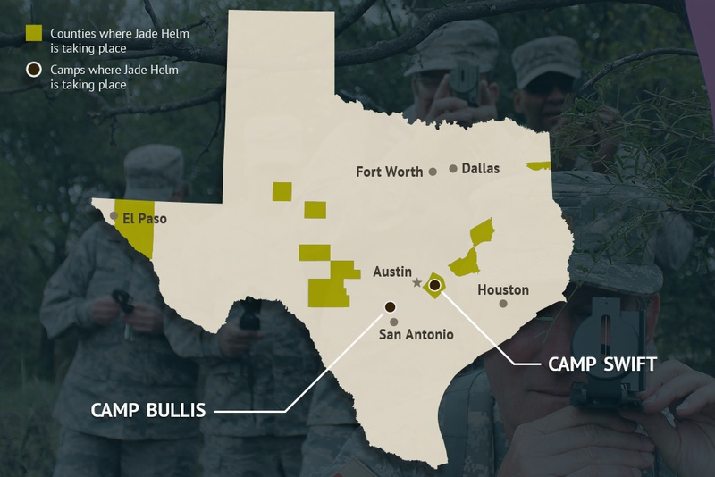 Operation Jade Helm 15, a military training exercise, begins Wednesday in 12 Texas counties: Bastrop, Burleson, Brazos, Edwards, Howard, Hudspeth, Kimble, Martin, Marion, Real, Schleicher and Tom Green. It will also take place at Camp Bullis in San Antonio and Camp Swift in Bastrop County.