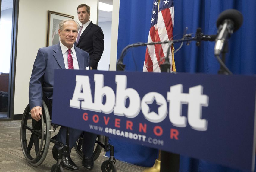 Gov. Greg Abbott and appointee Jimmy Blacklock arrive at a press conference at Texas Republican Party headquarters on Nov. 27, 2017.