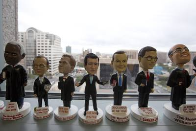 "A row of conservative ""jurists of the year"" on display in the office of the Texas solicitor general."
