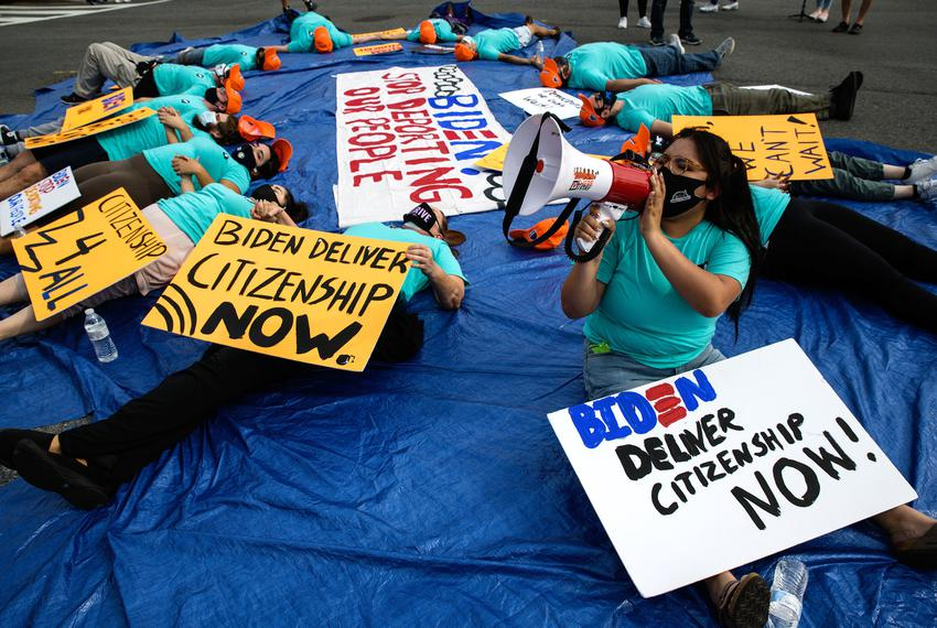 A DACA recipient spoke during a sit-in for immigration reform in the middle of Washington, D.C.'s Constitution Avenue on Apr…