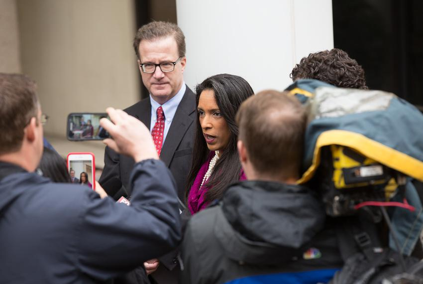 State Rep. Dawnna Dukes, D-Austin, outside the Travis County Blackwell-Thurman Criminal Justice Center before being arraigne…