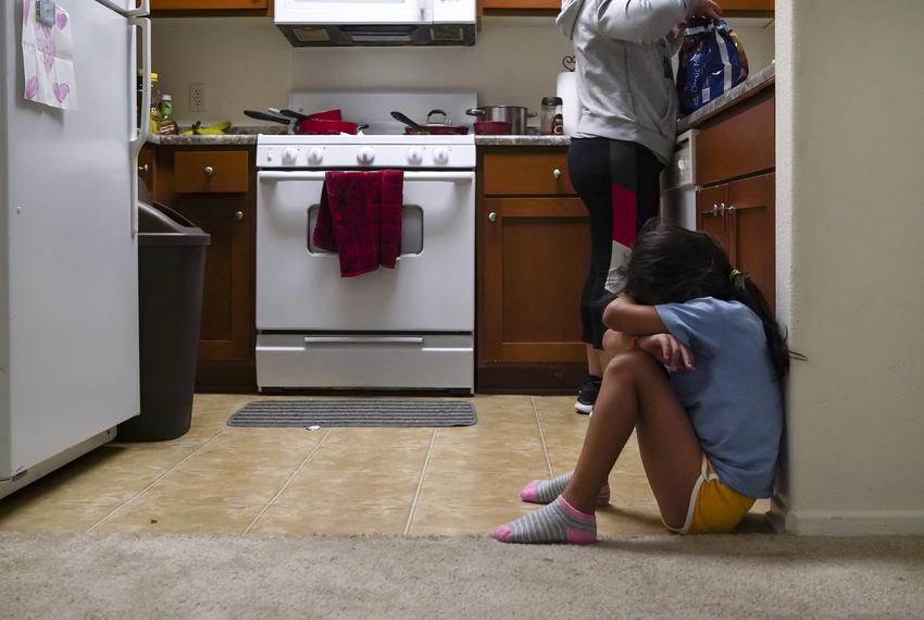 Heyli cries before going to school because she did not get to say good-bye for the day to her dad before he went to work. He…