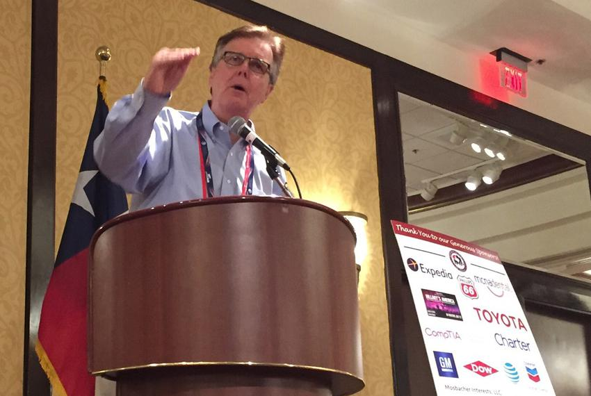 Texas Lt. Gov. Dan Patrick spoke to the Texas delegation on July 19, 2016, at the Republican National Convention in Clevel...