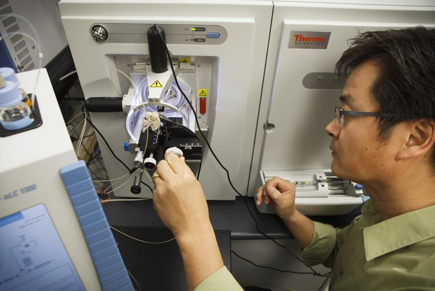 Associate Professor Sung Jung uses mass spectrometers to measure protein in cancer cells at Baylor College of Medicine in ...