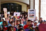 "People demonstrating against Senate Bill 4, the ""sanctuary cities"" ban, march near the Riverwalk in San Antonio on June 26, 2017. U.S. District Judge Orlando Garcia heard opening arguments from Texas cities and counties challenging the measure, signed into law by Gov. Greg  Abbott."