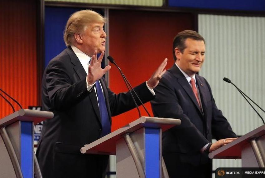 Businessman Donald Trump and U.S. Sen. Ted Cruz at the GOP presidential debate in Detroit, Michigan on March 3, 2016.