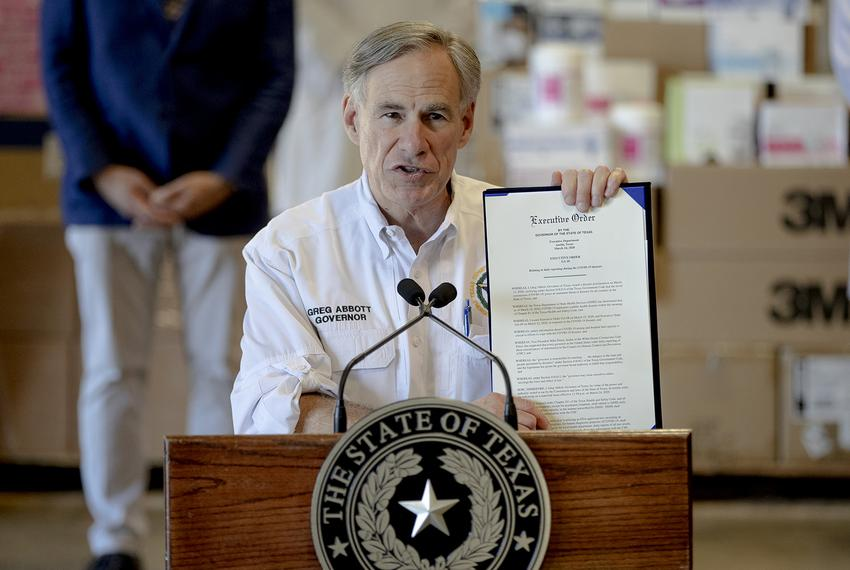 Gov. Greg Abbott holds a new executive order regarding the coronavirus during a press conference in Austin on March 24, 2020…