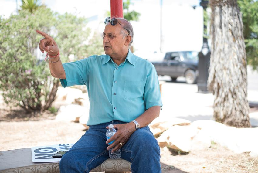 Alpine Mayor Avinash Rangra discusses his opposition to the Trans Pecos Pipeline during a June protest. The Alpine City Coun…