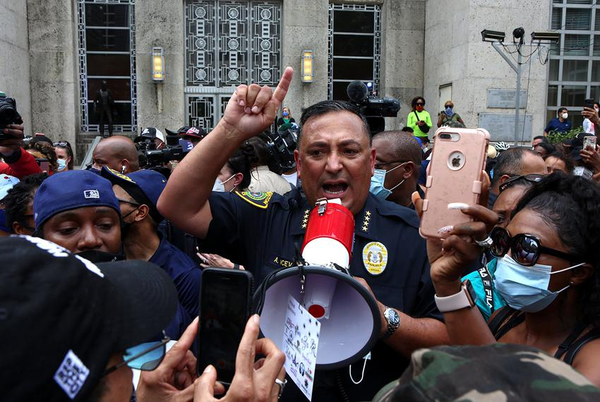 Houston Police Chief Art Acevedo responds to demonstrators about police accountability at a rally for George Floyd at Hous...