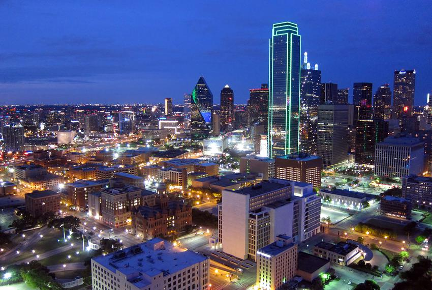 Downtown Dallas at night in April 2015.