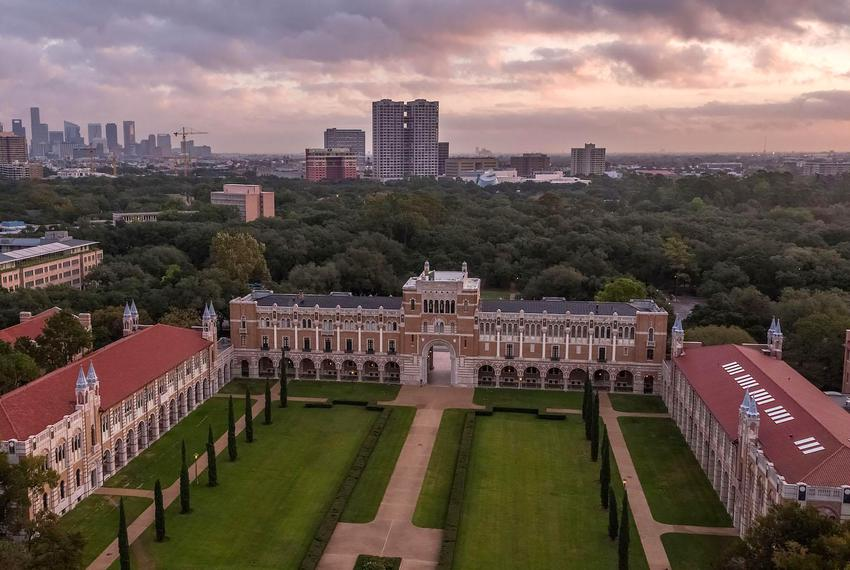 An aerial view of Rice University in Houston.