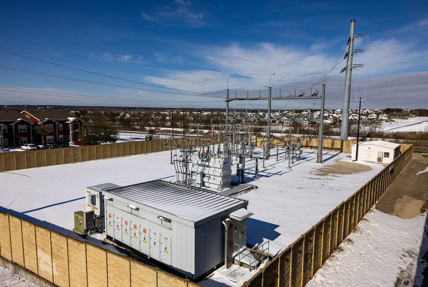 Powerline infrastructure in San Marcos on Feb. 16, 2021.