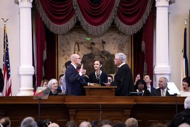 State Rep. Dennis Bonnen, R-Angleton, is sworn in as House speaker by U.S. District Judge John D. Rainey on Tuesday, Jan. 8, 2019. Looking on is Speaker Bonnen's wife Kimberly.