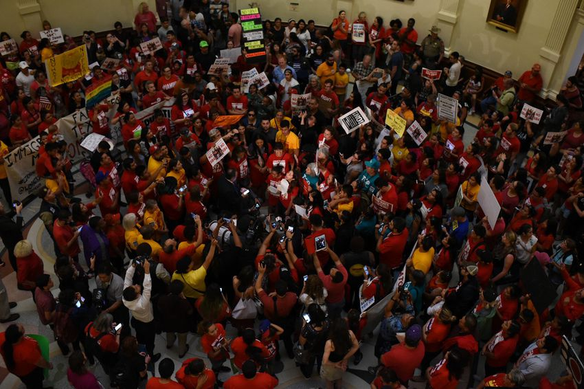 "The floor of the state Capitol is packed with protesters opposed to Senate Bill 4, the ""sanctuary cities"" bill, on May 29, 2017."