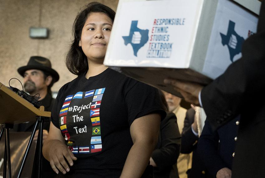 Carolina Hernandez, a student in the Houston ISD, spoke during a news conference at the Texas Education Agency on Nov. 15,...