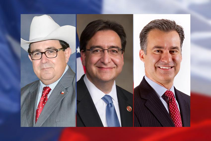Left to right: Republican Peter Flores and Democrats Pete Gallego and Roland Gutierrez, three of the eight candidates vyin...