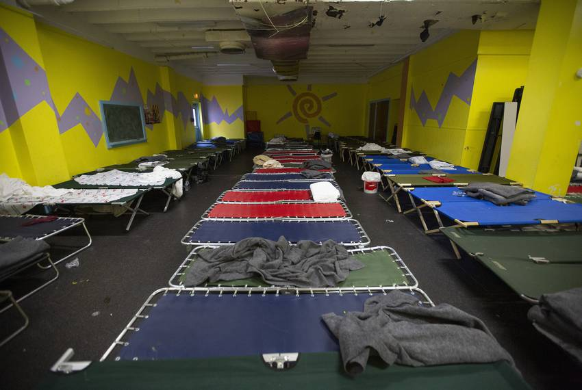 Cots set up inside the Travis Park Church June 27, 2019 in downtown San Antonio where an influx of migrants mostly from Af...