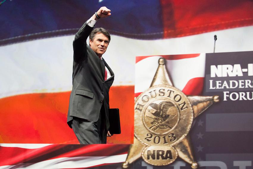 Texas Gov. Rick Perry speaks during the NRA's national convention in Houston, Friday May 3, 2013